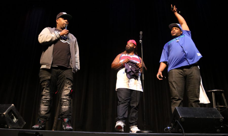 """(Left to right) Rip Micheals, Darren """"Big Baby"""" Brand and Nate Jackson from MTV's show Wild 'n Out came out on stage to introduce themselves on Sunday night Wild'N on Campus homecoming comedy show. Photo by Joshua Giron"""