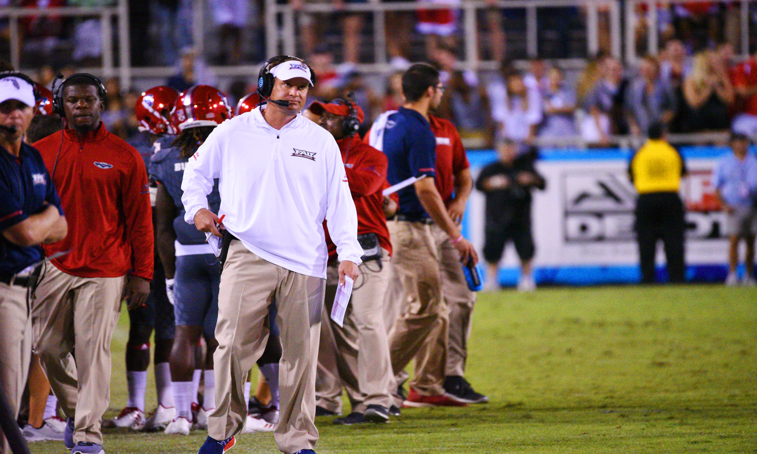 FAU head coach Lane Kiffin watches the replay after a referee called an incomplete pass against FAU. during their Nov. 18 game against Florida International. Pierce Herrmann | Contributing Photgrapher