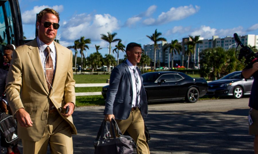 FAU+head+coach+Lane+Kiffin+walks+off+the+team+bus+before+the+team%27s+Nov.+3+game+versus+Marshall.+Lauren+Sopourn+%7C+Staff+Photographer