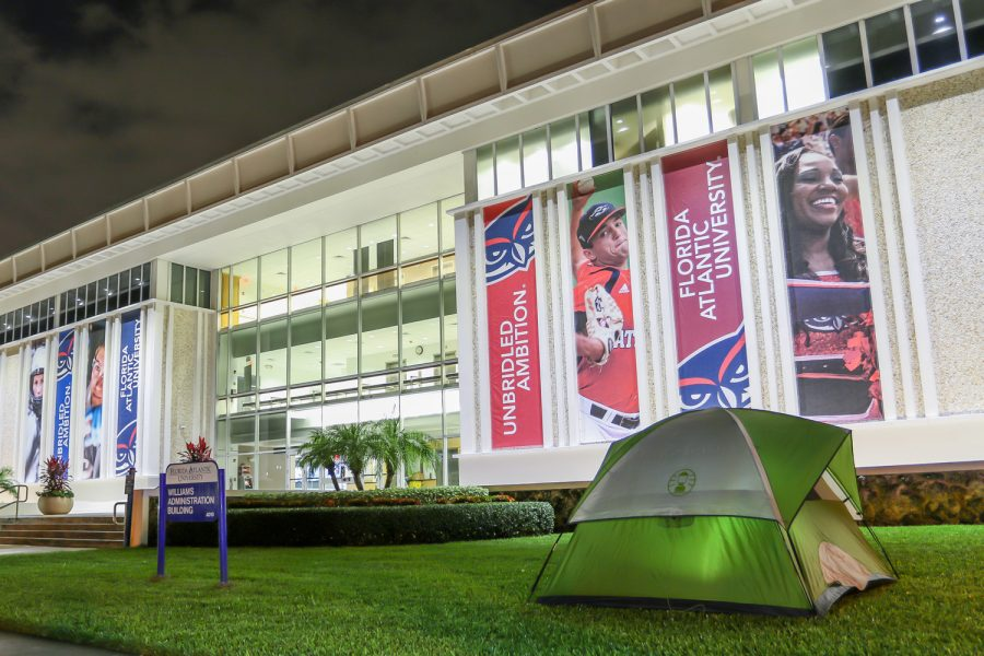 A tent set up for the night outside the Williams Administration Building on the Boca Raton campus. Joshua Giron | Contributing Photographer