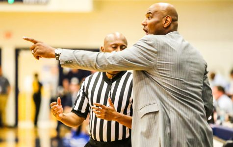 FAU Men's basketball head coach Michael Curry yells at the referee for a call he disagreed with during the first half against MTSU on Jan. 6. Alexander Rodriguez | Senior Photographer