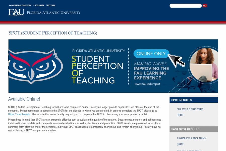 Screenshot of http://www.fau.edu/spot