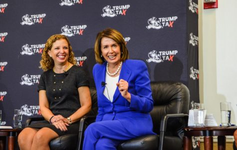 Representative Debbie Wasserman Schultz (left) and U.S. House Democratic leader Nancy Pelosi participate in a Town Hall hosted by College Democrats. | Violet Castano