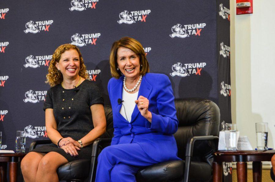 Representative Debbie Wasserman Schultz (left) and U.S. House Democratic leader Nancy Pelosi participate in a Town Hall hosted by College Democrats.   Violet Castano