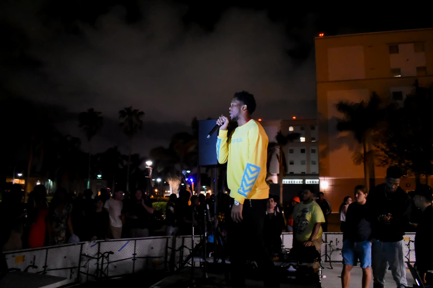 FAU rapper K. Williams performs at the Spring Music Competition on the Boca Housing Lawn. | Anthony Washko