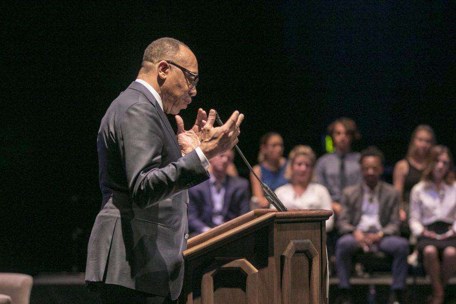 Washington Post columnist Eugene Robinson speaks to the crowd in the Boca campus Student Union auditorium Thursday. Joshua Giron | Photo Editor