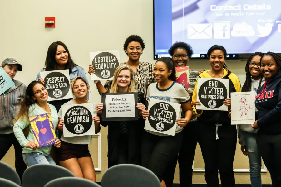 "On Thursday evening, a new club organization, FAU NOW, held signs that read ""End Voter Suppression,"" ""Respect Women of Color,"" etc. The club held their first general body meeting to educate and inform women on the feminist movement and recent topics about women circulating across the nation. Alexander Rodriguez 