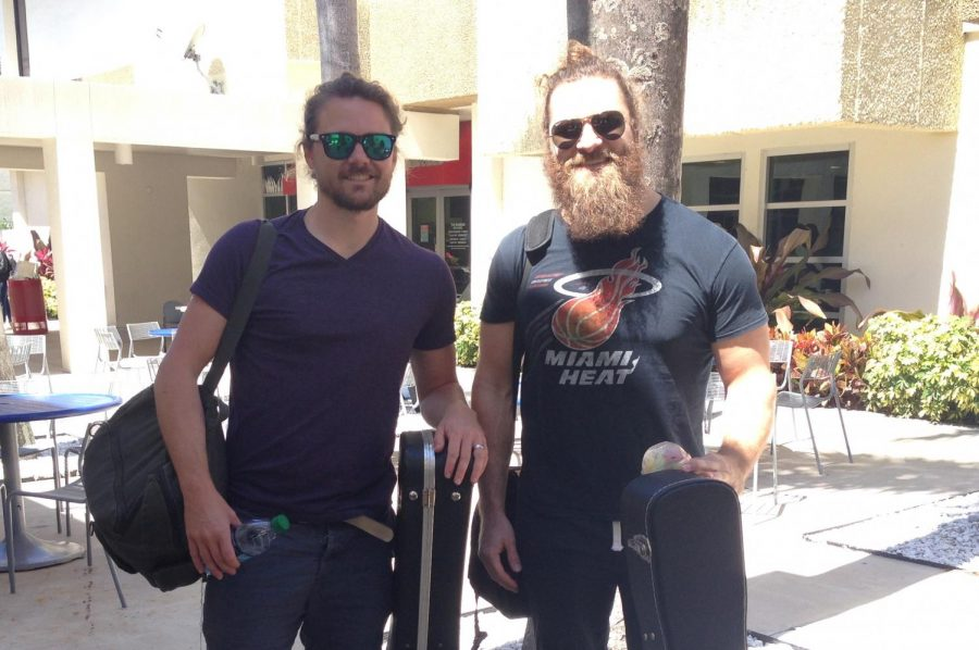 Artist performers,The Icarus Account, are twin brothers, Ty Turner and Trey Turner, are packing up after performing on the Burrow Patio for Live on the Patio event. This is hosted once a month for students on the Boca Campus. Maria Campos   Contributing Writer