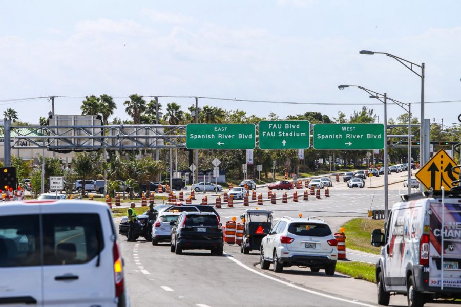 The view coming off the new I-95 southbound exit that will lead drivers either west or east on Spanish River Boulevard or toward FAU and FAU Stadium. Alexander Rodriguez | Photo Editor