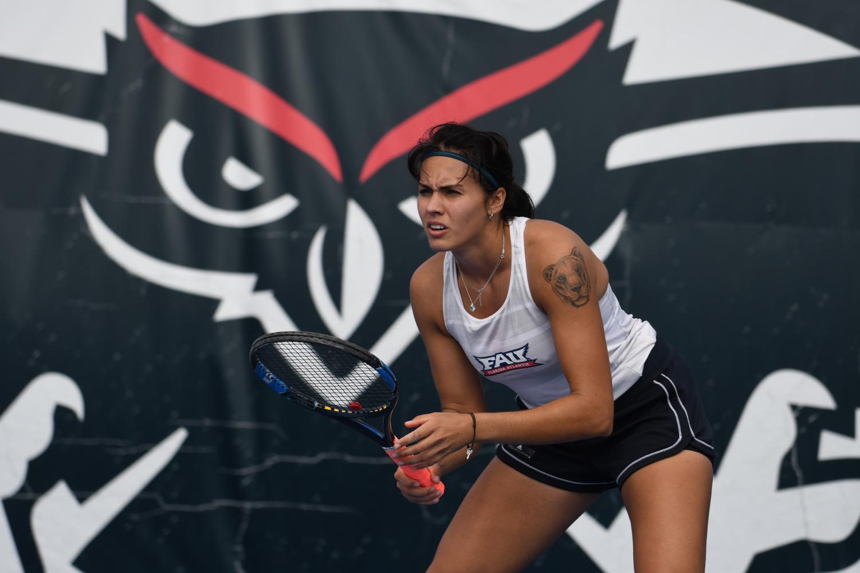 Aliona Bolsova practices on the FAU Boca campus tennis courts. Photo courtesy of FAU Athletics