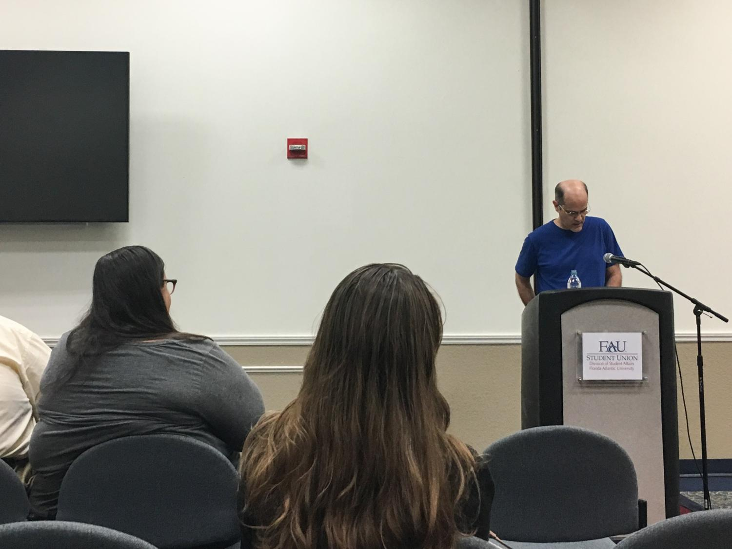 Bob Hicok teaches students about humor in poetry as well reading some excerpts from his work. The Virginia Tech professor came to FAU last Thursday.