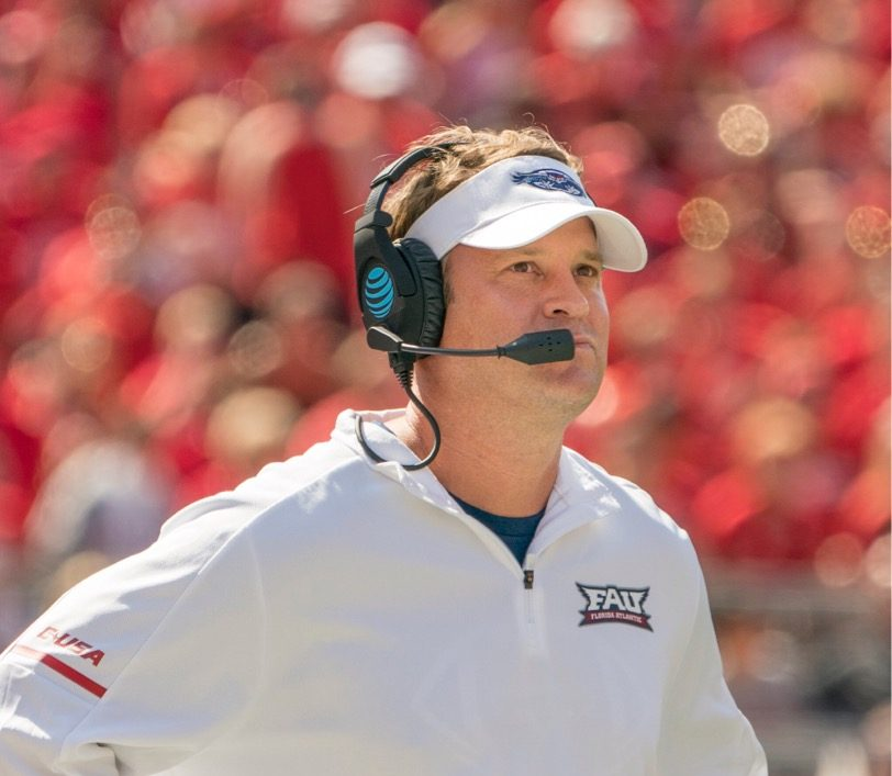 Lane Kiffin is entering his third season as the head coach for the Owls.  Photo courtesy of FAU Media Relations