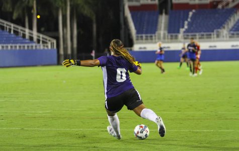 FAU goalkeeper Jennifer Ocampo (0) kicks the ball during a goal kick. Photo by: Alexander Rodriguez