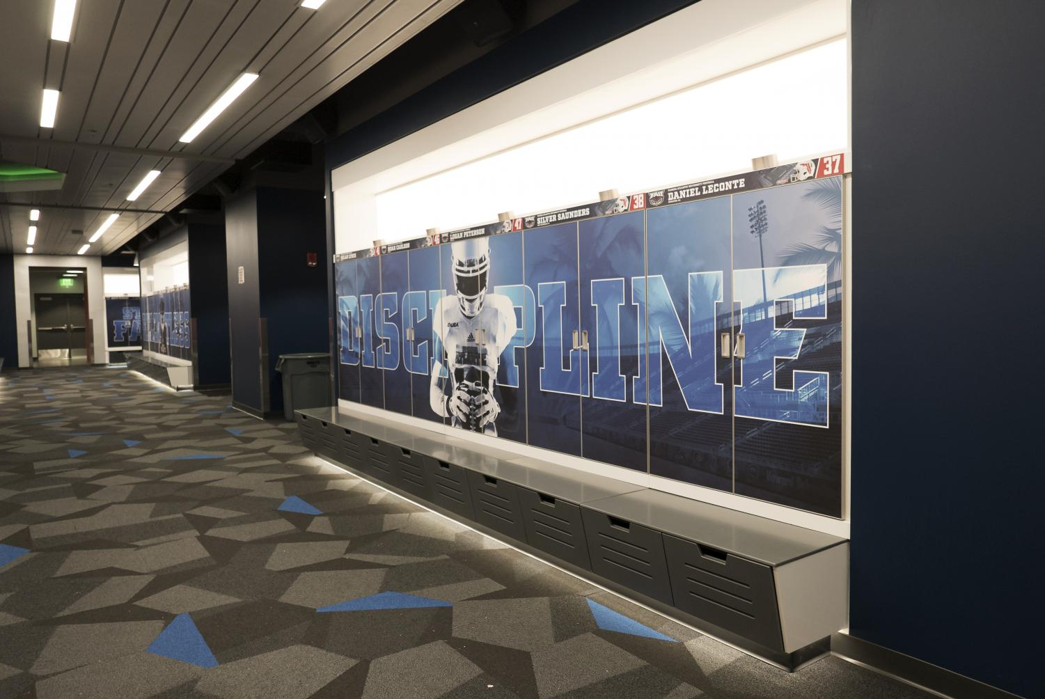 The renovated lockers feature each player's name and hometown. Photo by Violet Castano