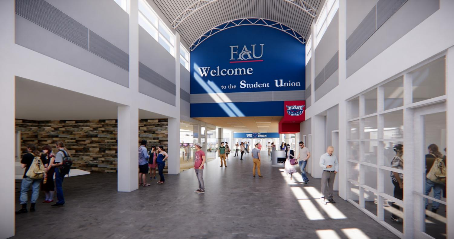 The main entrance to the Student Union will have renovated lighting and flooring. Photo courtesy of FAU's website