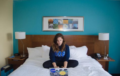 24-year-old mechanical engineering major Kate McPartland's hotel bedroom is a king single that she pays $5,680 for, a price higher than any listed on-campus rate. Photo by Violet Castano
