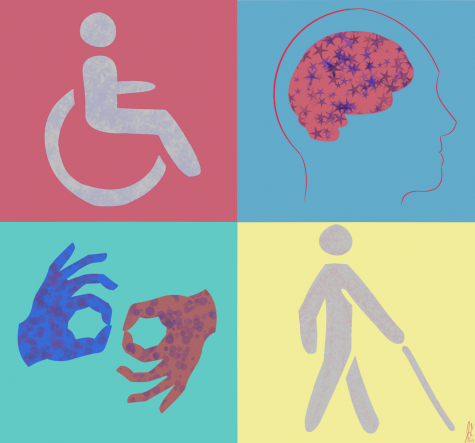 Student Accessibility Services offers accomodations for five categories of impairments: learning, hearing, physical, visual, and/or other.  Illustration by Joey Sena