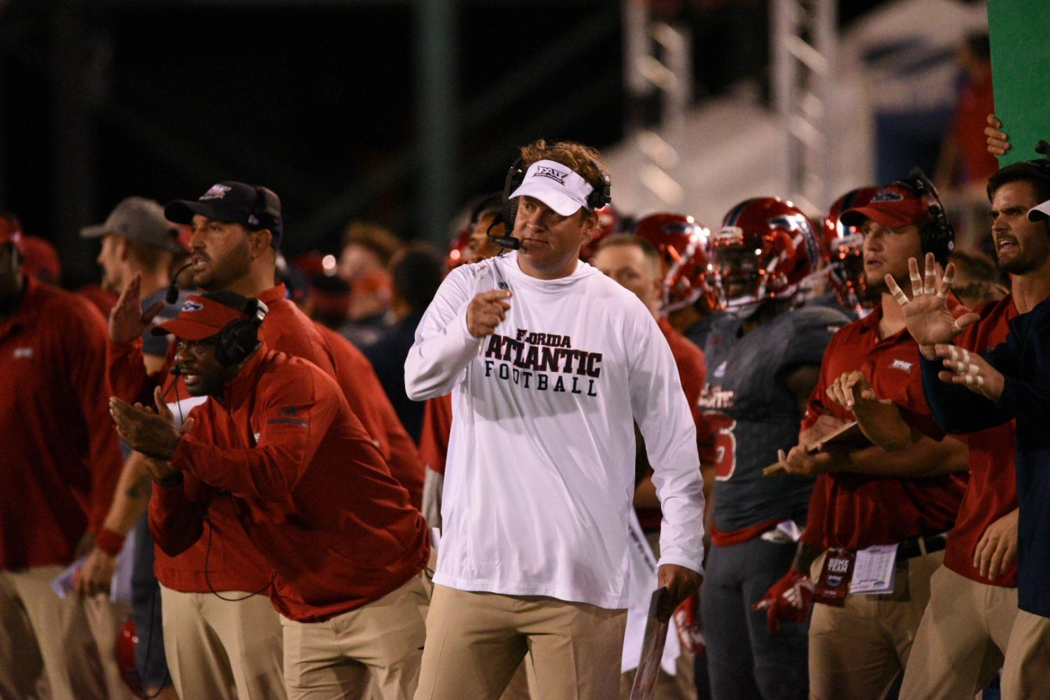 Can FAU coach Lane Kiffin lead the Owls to a second-straight bowl game? Photo by Pierce Herrmann.
