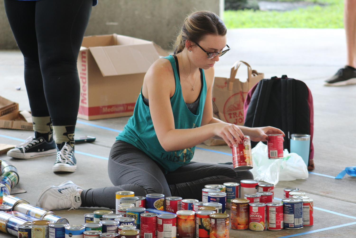 The canned food was later donated to Boca Helping Hands and FAU's Beyond Food program, which are charities that help feed people in need. Photo by Emma Saunders