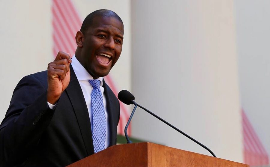 Andrew+Gillum+plans+to+enact+gun+control+if+he+wins+the+election%2C+and+is+also+in+favor+of+cheaper+college+education.+Photo+courtesy+of+Andrew+Gillum%27s+Facebook