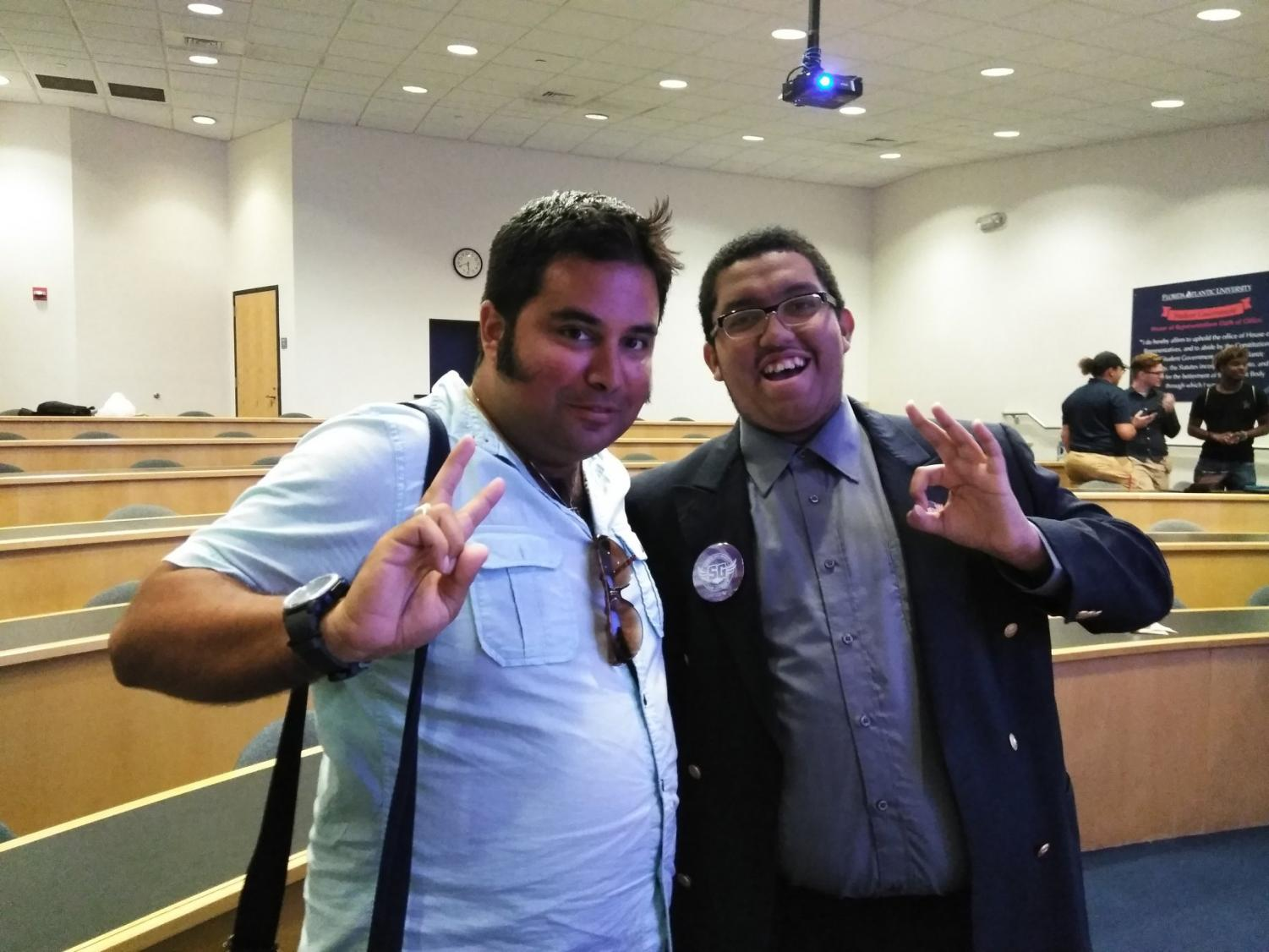 Alexander Suarez (left) and Michaelangelo Hamilton (right) pose after their first House meeting last year. The original petition was to remove both of them from office, but the new Articles of Impeachment are against Suarez only. Photo courtesy of Hamilton's Facebook