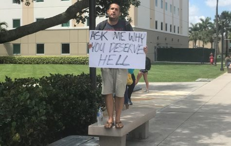 Anti-LGBT preacher returns to Boca campus despite being struck by golf cart