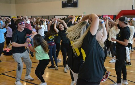 FAU fraternity and sorority members dance during OwlThon, an annual fundraiser for children with chronic illnesses. Photo courtesy of OwlThon