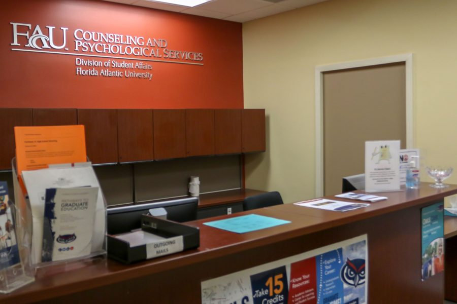 FAU's Counseling and Psychological Services office   on the second floor of the Breezeway. They recently launched a virtual program that teaches college students how to spot signs of mental health problems and how to be an effective listener. University Press file photo