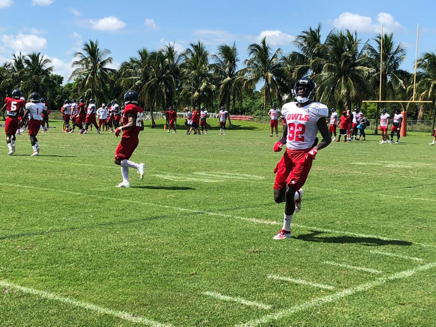 Wide receivers and defensive backs practicing drills at training camp Sunday morning. Photo by: Colby Guy
