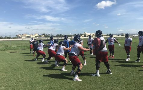 The offensive lineman practice blocking drills at the second day of fall training camp. Photo by: Zachary Weinberger