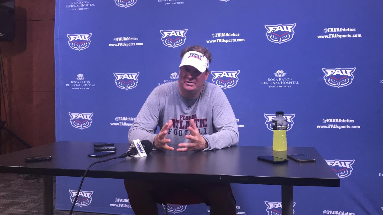 Head coach Lane Kiffin reflects on today's scrimmage as the season opener comes closer. Photo by: Zachary Weinberger