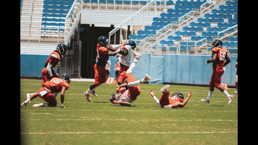 The defensive backs's goal is to be all over the field and disrupt anybody on the opposing side. Photo by: Alex Liscio