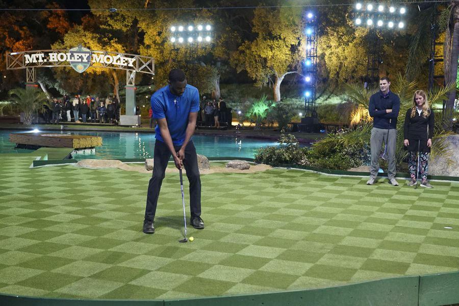 A contestant competing on Holey Moley, an extreme mini-golf game show on ABC. FAU professor Eric Chiang will be competing Thursday night for $25,000. Photo courtesy of Walt Disney Television