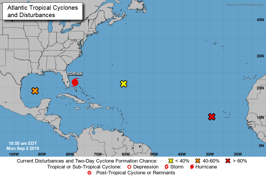 Hurricane Dorian's projected path as of 10:50 a.m. EDT on September 2, 2019. Courtesy of the National Hurricane Center.