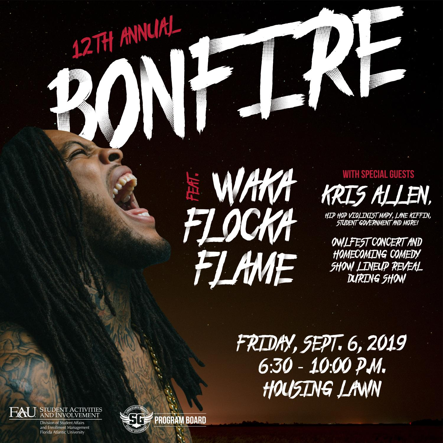 2019 Bonfire promotional poster. Courtesy of FAU Program Board's Twitter.