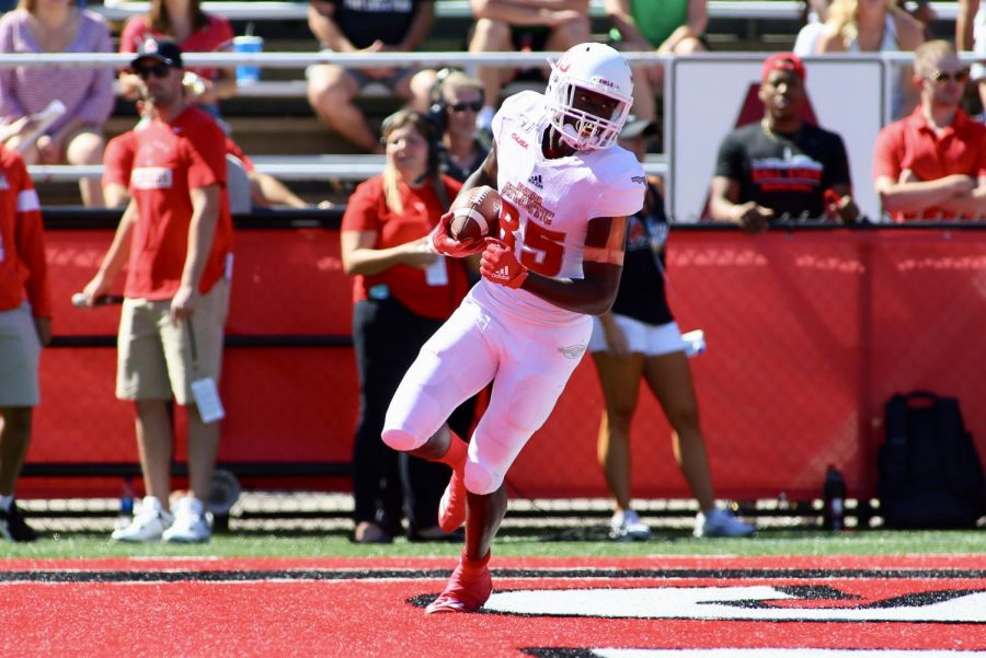 Senior wide receiver John Mitchell was QB Chris Robison's favorite target as he caught eight passes for 124 yards and three touchdowns. Photo courtesy of FAU Athletics.