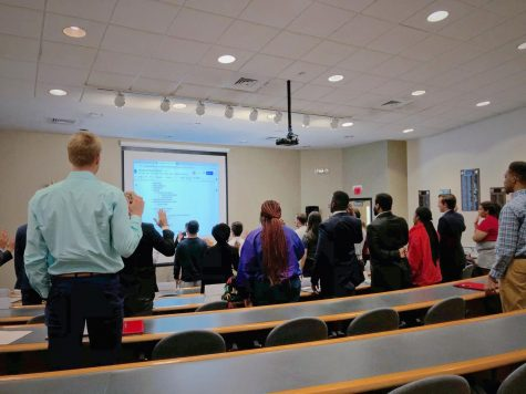 House of Representatives members being sworn in at the first meeting of the semester. Photo by Israel Fontoura
