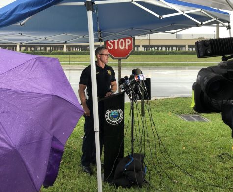 Boca police preparing for a press briefing Sunday afternoon after gunshots were reported in the Town Center Mall. Photo by Israel Fontoura