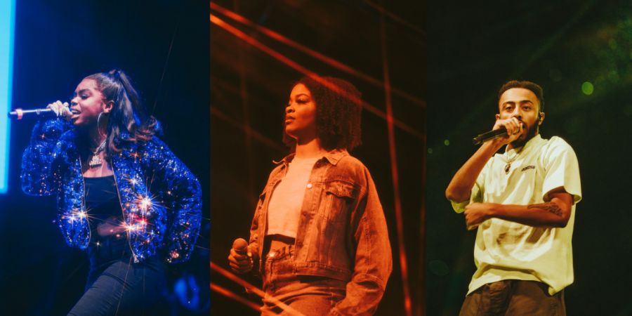(L-R) Dreezy, Ari Lennox, and Aminé peforming at OwlFest, Thursday night. Photography by Photo Editor Alex Liscio