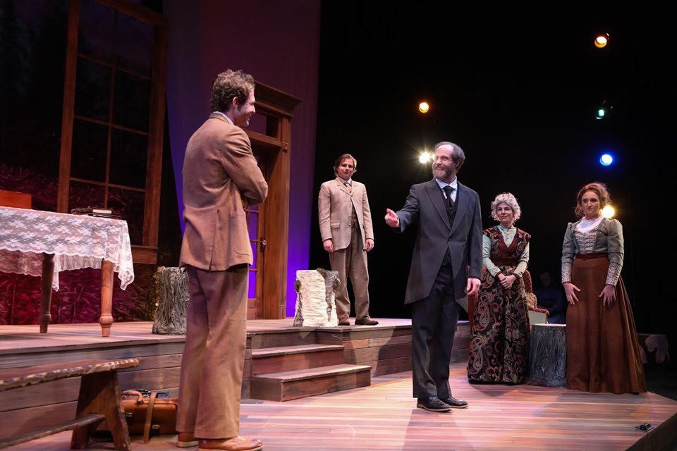 Christian Mouisset, Jeremy Wershoven, Ryan Page, Aubrey Elson, and Kailey Jones in FAU's production of Uncle Vanya. Photo courtesy of Maria Mor Photography and Brand