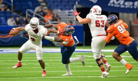 In his first game back since the first week of the season against Ohio State, running back BJ Emmons carried the ball 10 times rushing for 53 yards and two touchdowns. Photo courtesy of FAU Athletics.