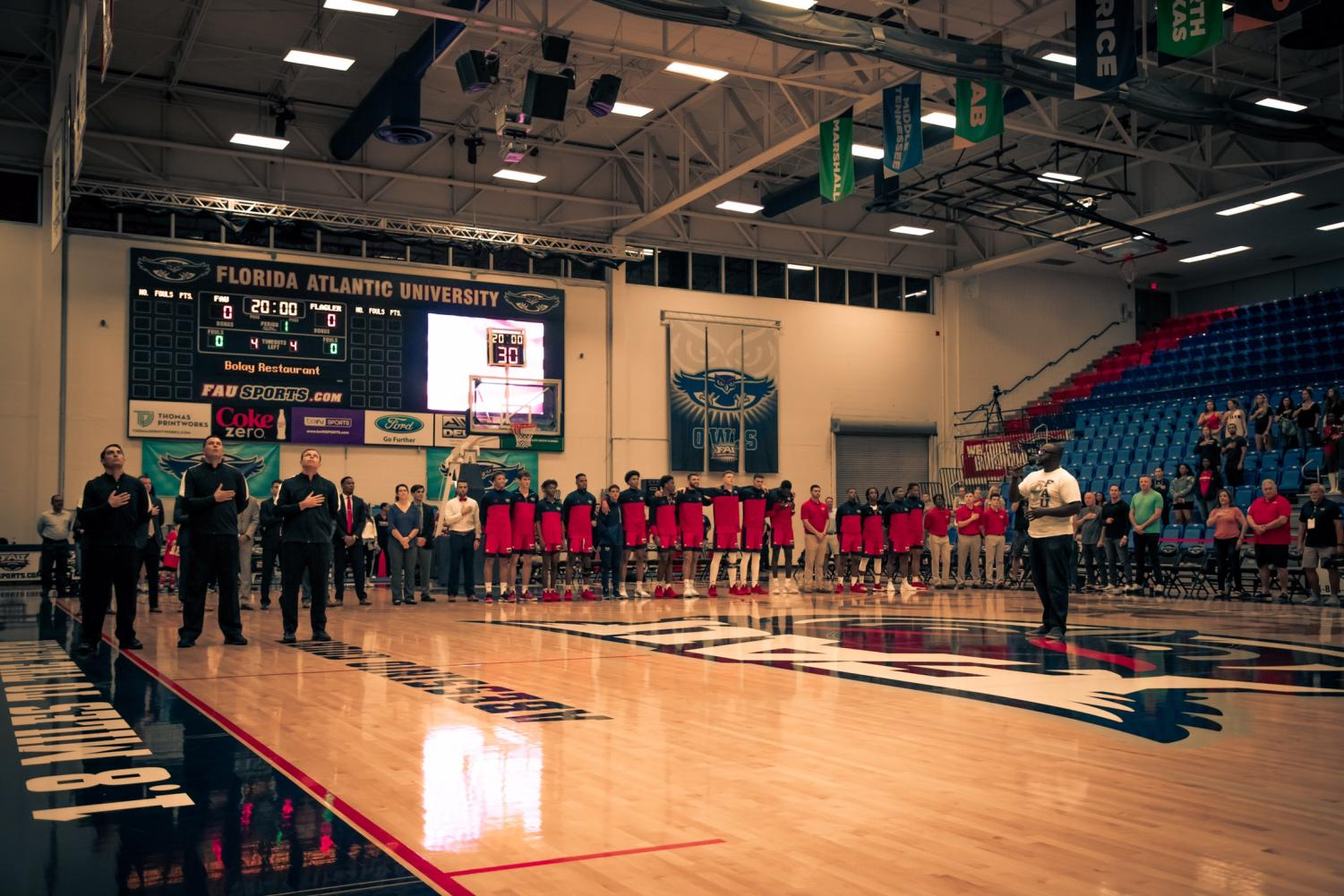 With the win yesterday over Palm Beach Atlantic, the Owls are 2-0 on their home floor. Photo by Michael Hoyos.