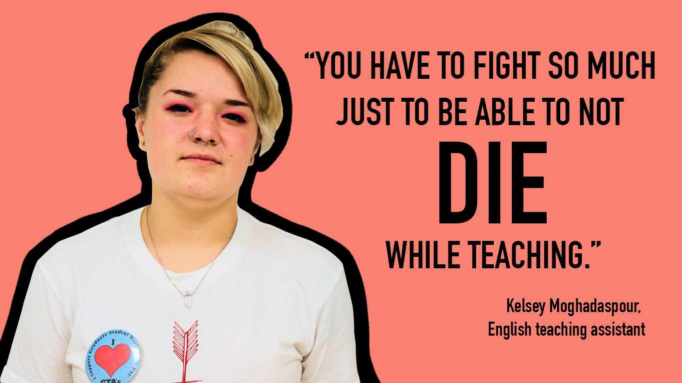 Kelsey Moghadaspour, a graduate teaching assistant (GTA), is diagnosed with cystic fibrosis. If she received healthcare from FAU as a GTA, she wouldn't have to fly to Seattle for treatment. Photo by Simone Stewart