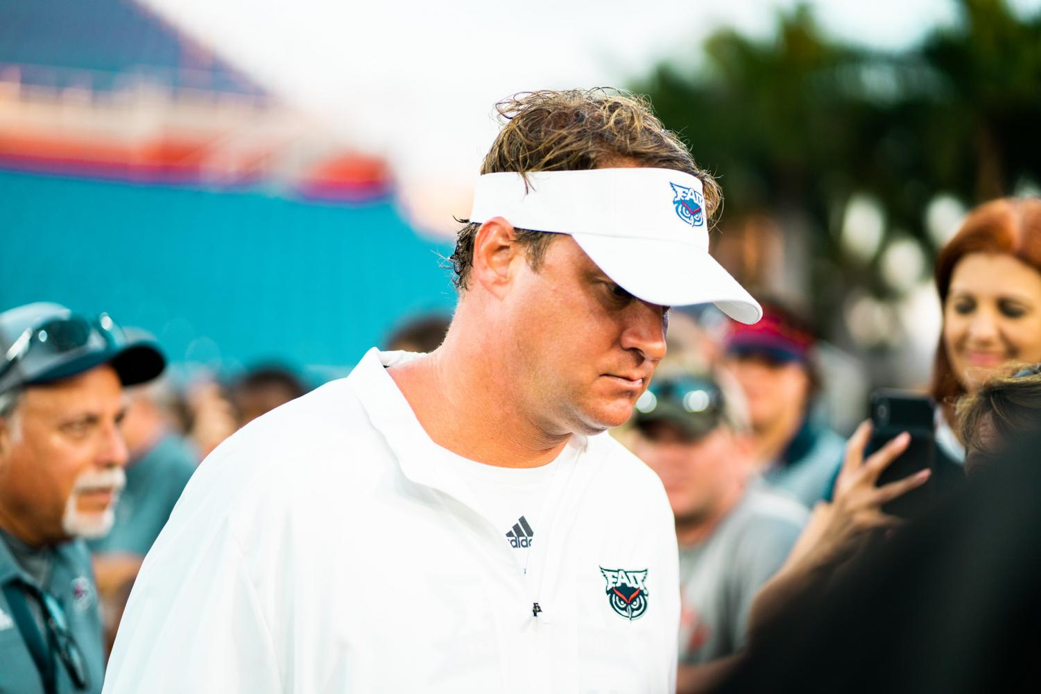 Lane Kiffin won his second conference title Saturday beating the UAB Blazers, 49-6. Photo by: Alex Liscio.