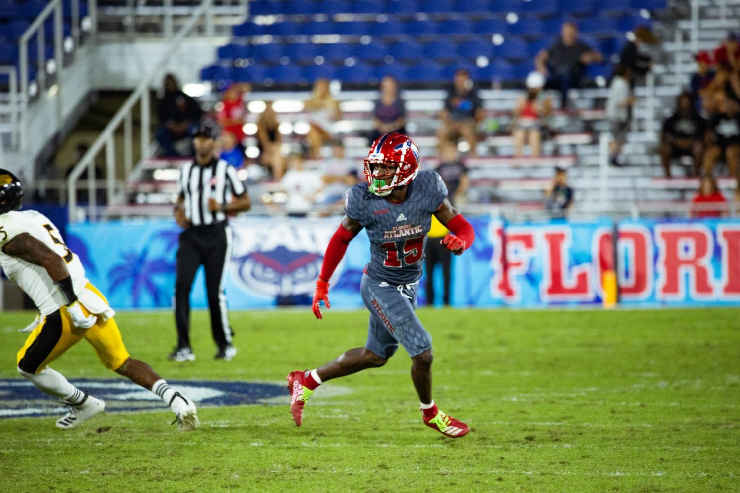 The defense for the Owls has been a standout this season, especially cornerback Meiko Dotson who recorded two interceptions in the win against Southern Mississippi. It brings his total to eight which is the most interceptions in a single season in program history. Photo by: Alex Liscio.