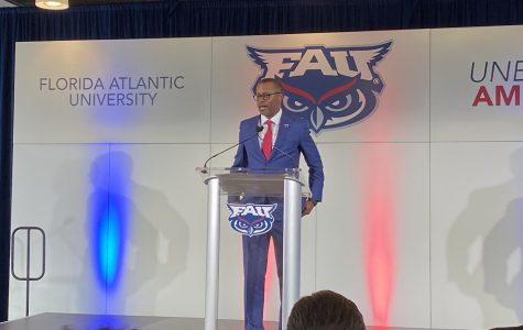 New FAU head coach Willie Taggart talking at his introductory press conference. Photo by: Zachary Weinberger.