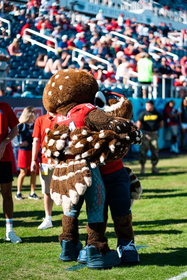 FAUs+new+mascot%2C+Hoot%2C+hugs+Owlsley.+Photo+by+Alex+Liscio+