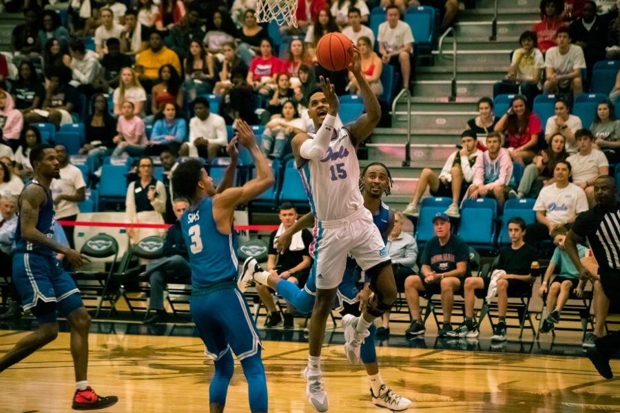 Forward Jaiyln Ingram tallied 16 points in the win and made the three point shot to tie the game with 0.6 seconds left in regulation. Photo by: Michael Hoyos.