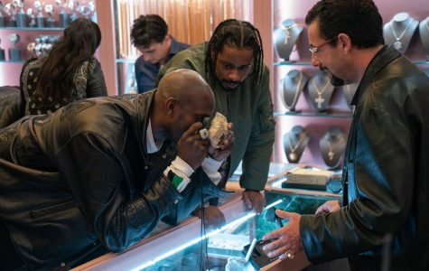 Kevin Garnett, Lakeith Stanfield, and Adam Sandler (left to right) in the Safdie Brothers' film