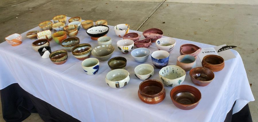 Ceramics+students+made+555+bowls+for+this+year%27s+Empty+Bowls+fundraiser.+Photo+by+Marcy+Wilder
